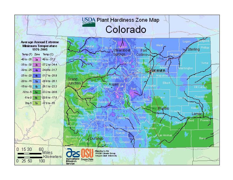 USDA Plant Hardiness Zone Map for Colorado