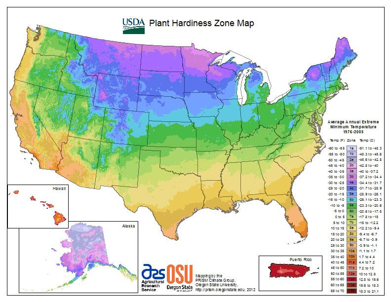 USDA Plant Hardiness Zone Map for United States