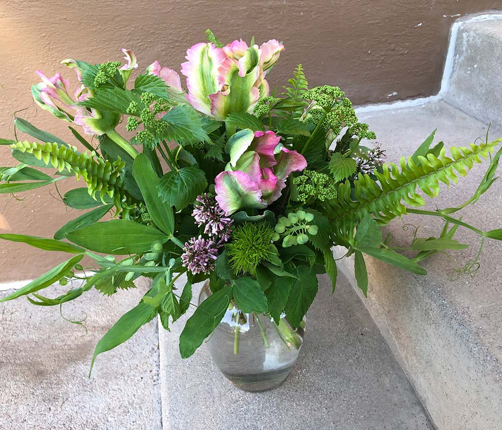 A unique flower bouquet is a fun idea for a mom or wife who gardens