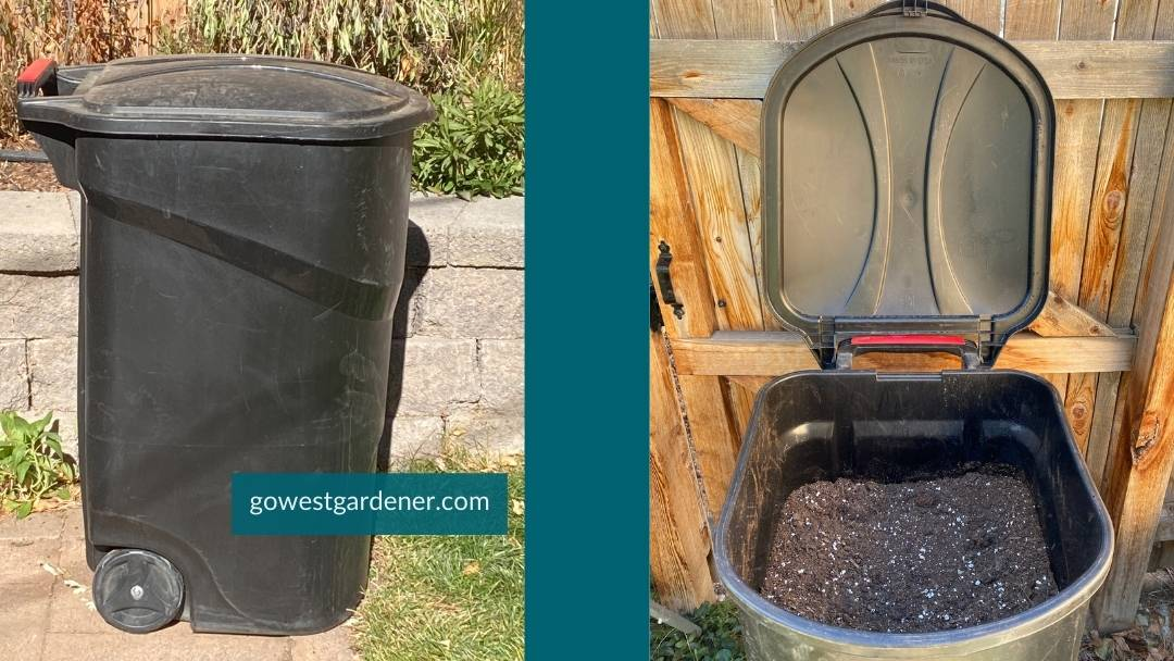 Where to store used potting soil - old garbage cans work well for the dirt