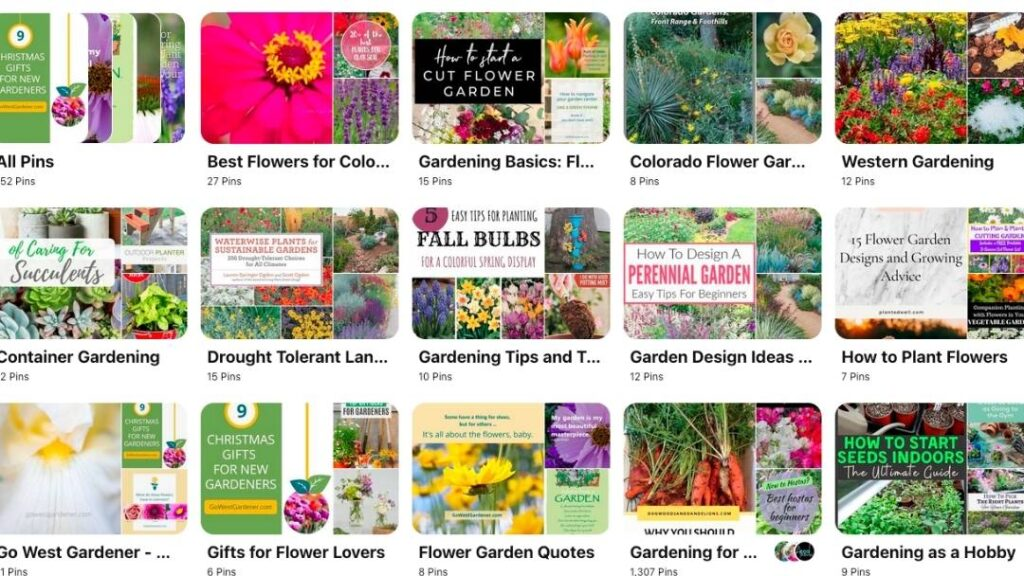 Go West Gardener is now on Pinterest with a variety of flower gardening boards for budding western gardeners and beginners.