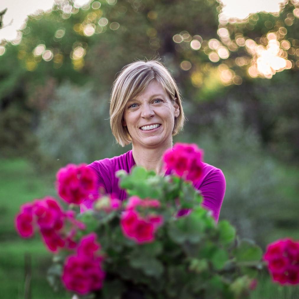 Ann at Go West Gardener with geraniums